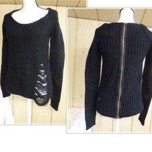 Planet Gold Juniors' Back Zipper Ripped Sweater, S